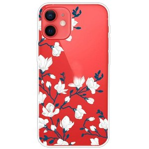 iPhone 13 Mini Fleksibel Plastik Bagside Cover - Hvide Blomster