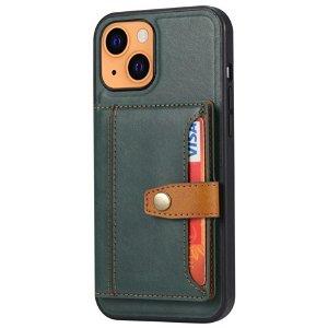 iPhone 13 Hybrid Bagside Cover m. Kortholder - Grøn