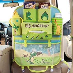 Bagsæde Organizer m. Dinosaur Tema - Lyseblå / Grøn