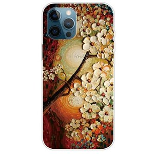 iPhone 13 Pro Max Fleksibel Plastik Bagside Cover - Træ med Blomster
