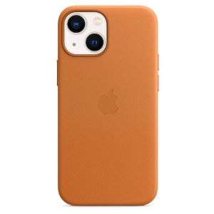 Original Apple iPhone 13 Mini Læder MagSafe Bagside Cover Okker (MM0D3ZM/A)