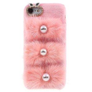 iPhone SE (2020)/8/7 Cover med Kaninpels og Rhinsten - Lyserød