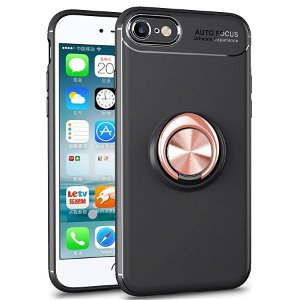 iPhone 7 / 8 / SE (2020) Plastik Cover Sort m. Rose Gold Ring/Stander