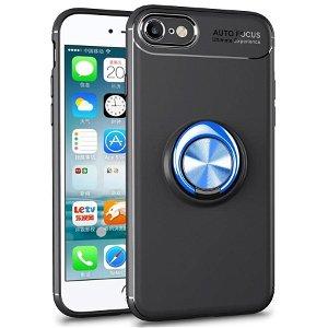 iPhone 7 / 8 / SE (2020) Plastik Cover Sort m. Blå Ring/Stander