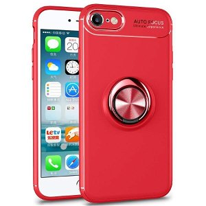 iPhone 7 / 8 / SE (2020) Plastik Cover Rød m. Rød Ring/Stander
