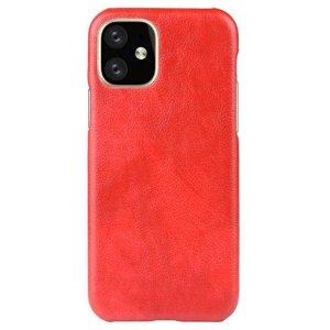 iPhone 11 Læderbelagt Plastik Cover - Rød