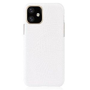 iPhone 11 Læderbetrukket Cover m. Hvid Krokodilletekstur