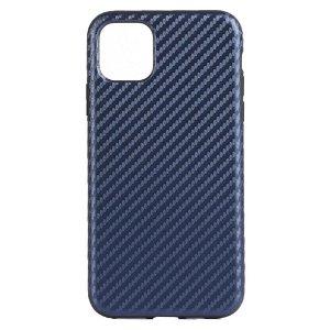 Apple iPhone 11 Pro Læderbetrukket Carbon Cover -  Mørkeblå