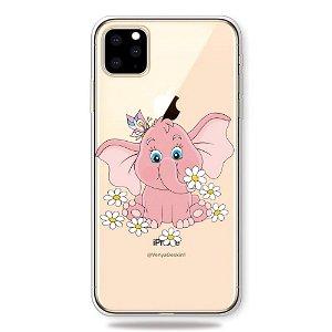 iPhone 11 Pro Gennemsigtig Fleksibelt Plastik Cover - Lyserød Elefant