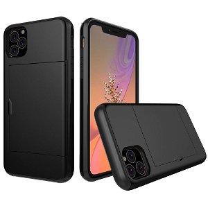Apple iPhone 11 Hårdt Plastik Cover m. Kortholder - Sort