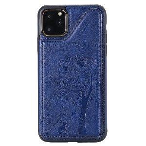 iPhone 11 Pro Læder Cover m. Flip Pung - Træ Imprint Blå