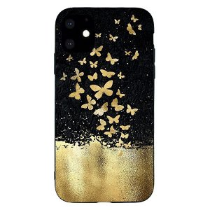 iPhone 11  Fleksibelt Plastik Cover - Guld Sommerfugle