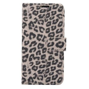 iPhone 11 Pro Max Læder Cover m. Pung Leopard Beige