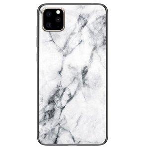 iPhone 11 Pro Fleksibelt Plastik Cover m. Glasbagside - Hvid Marmor