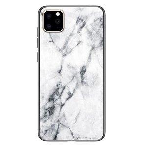 iPhone 11 Marmor Plastik Cover m. Glas Bagside - Hvid