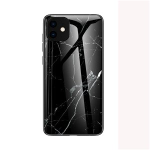 iPhone 11 Marmor Plastik Cover m. Glas Bagside - Sort