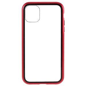 iPhone 11 Pro Magnetisk Metalramme m. Glas Bagside - Rød
