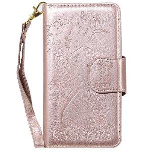 iPhone 11 Pro Max Læder Cover m. Pung - Pige med dyr - Guld