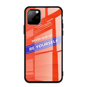 iPhone 11 Pro Max Cover m. Glasbagside - Be Yourself - Rød