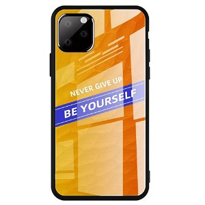iPhone 11 Pro Cover m. Glasbagside - Be Yourself - Orange