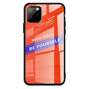 iPhone 11 Cover m. Glasbagside - Be Yourself - Rød