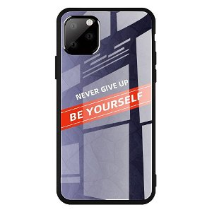 iPhone 11 Cover m. Glasbagside - Be Yourself - Lilla