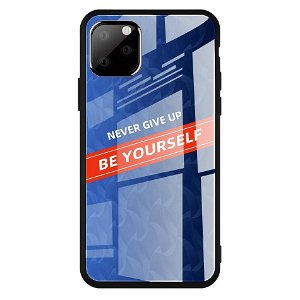 iPhone 11 Cover m. Glasbagside - Be Yourself - Blå