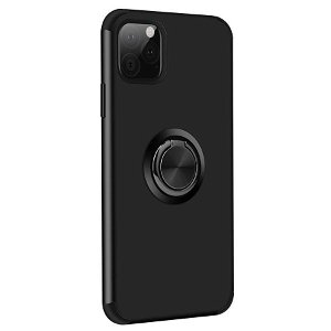 iPhone 11 Fleksibelt Plast Cover m. Ring Kickstand Sort