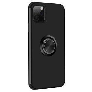 iPhone 11 Pro Max Fleksibel Plastik Cover m. Ring Holder Sort