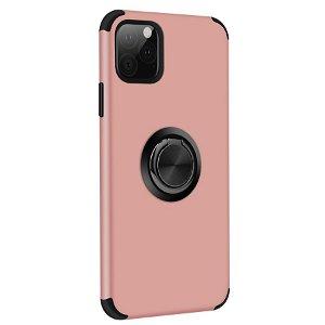 iPhone 11 Pro Max Fleksibel Plastik cover m. Ring Holder Lyserød