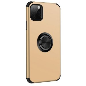 iPhone 11 Pro Max Fleksibel Plastik cover m. Ring Holder Guld