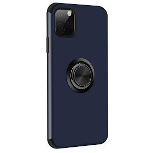 iPhone 11 Pro Max Fleksibel Plastik Cover m. Ring Holder Blå