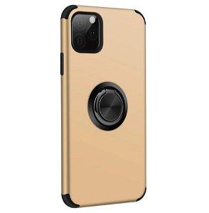 iPhone 11 Pro Fleksibelt Plast Cover m. Ring Kickstand Guld
