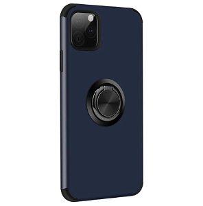 iPhone 11 Pro Fleksibelt Plast Cover m. Ring Kickstand Mørkeblå