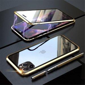 iPhone 11 Pro Max Magnetisk Metalramme m. Glas For- & Bagside - Guld