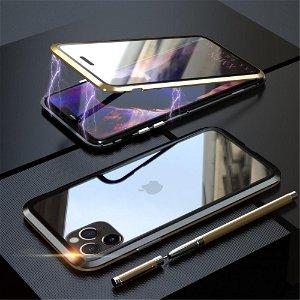 iPhone 11 Pro Max Magnetisk Metalramme m. Glas For- & Bagside - Guld / Sort