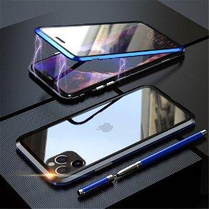 iPhone 11 Pro Max Magnetisk Metalramme m. Glas For- & Bagside - Blå / Sort