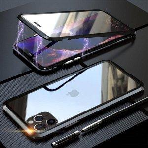iPhone 11 Pro Max Magnetisk Metalramme m. Glas For- & Bagside - Sort