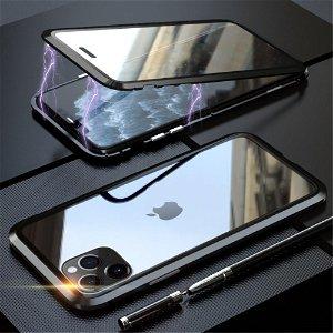 iPhone 11 Pro Magnetisk Metalramme m. Glas For- og Bagside - Sort
