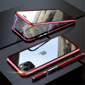 iPhone 11 Pro Magnetisk Metalramme m. Glas For- og Bagside - Sort / Rød