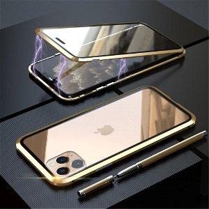iPhone 11 Pro Magnetisk Metalramme m. Glas For- og Bagside - Sort / Guld