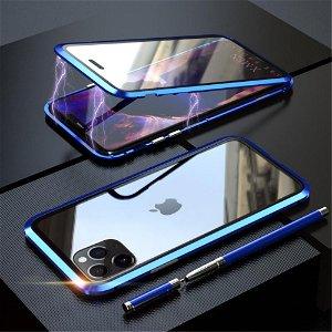 iPhone 11 Pro Magnetisk Metalramme m. Glas For- og Bagside - Mørkeblå