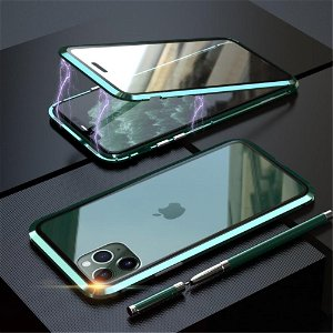 iPhone 11 Pro Magnetisk Metalramme m. Glas For- og Bagside - Grøn