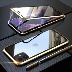 iPhone 11 Magnetisk Metal Cover m. Glasforside & Bagside - Guld