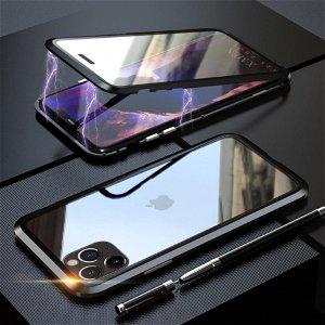 iPhone 11 Pro LUPHIE 360⁰ Magnetisk Cover m. Glas Forside & Bagside (Square Edge) - Sort