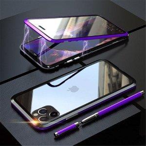 iPhone 11 Pro LUPHIE 360⁰ Magnetisk Cover m. Glas Forside & Bagside (Square Edge) - Lilla / Sort