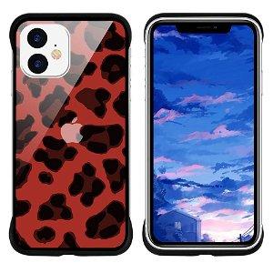 iPhone 11 NXE Cover Leopard Tekstur Gennemsigtigt / Rød