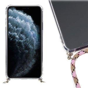 iPhone 11 Pro Max  Fleksibelt Plastik Cover m. Strop - Lyserøde Striber