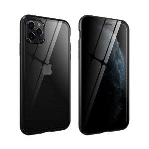 iPhone 11 Pro 360° Magnetisk Cover m. Glas Bagside og Forside m. Privacy Funktion - Sort