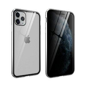iPhone 11 Pro 360° Magnetisk Cover m. Glas Bagside og Forside m. Privacy Funktion - Sølv